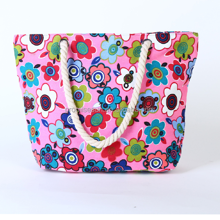 High quality wholesale pure and fresh flower pattern popular shopping tote bag canvas