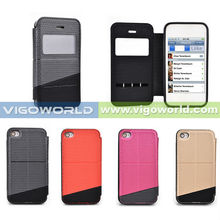 MOQ 10 PCS! For iPhone 4s case, Flip leather case for Apple iPhone4s