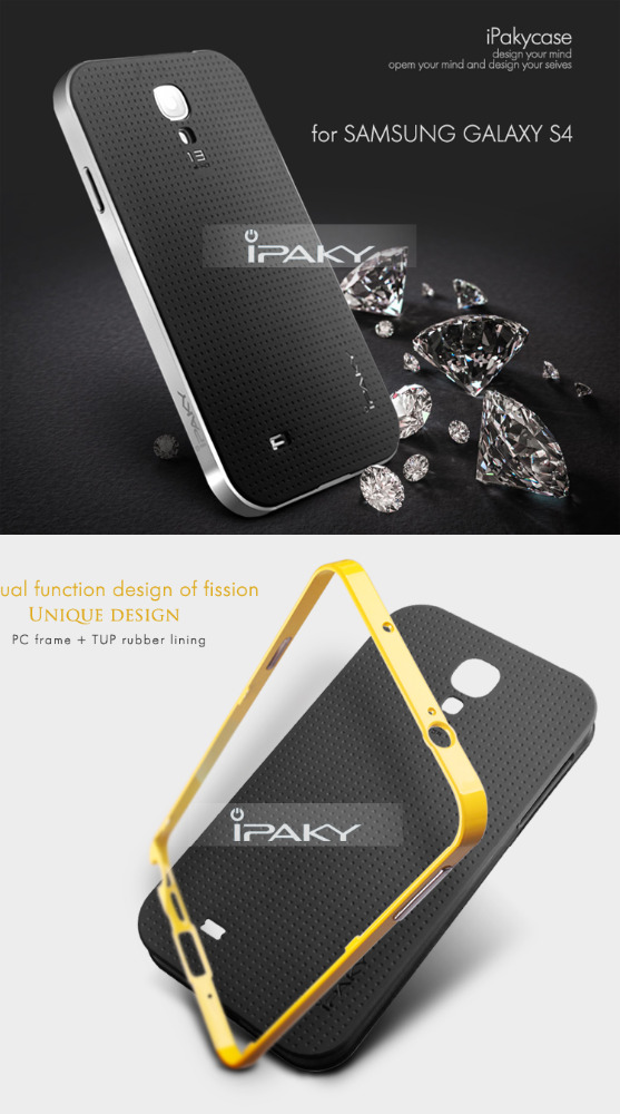 Original iPaky Dual Hybrid TPU + PC Frame Silicon Back Case Cover For Samsung S4/S5/S7 PII-022