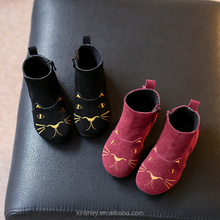 KS10031S Lovely cat embroidered kids suede boots new design ankle boots for girls