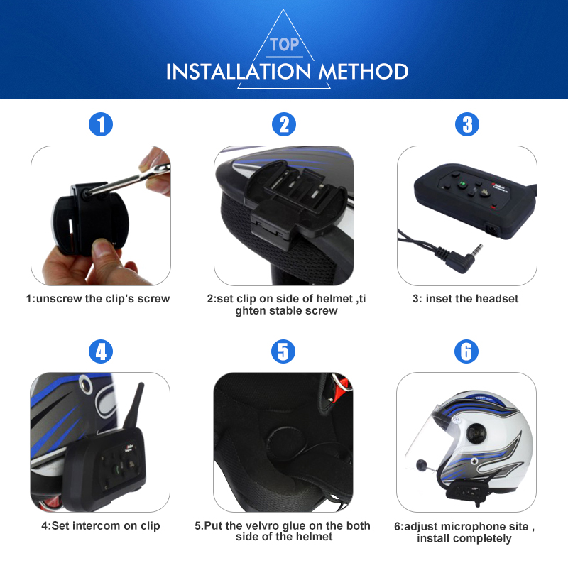 Best selling 6 riders E6 bt interphone motorcycle helmet intercom connections intercoms