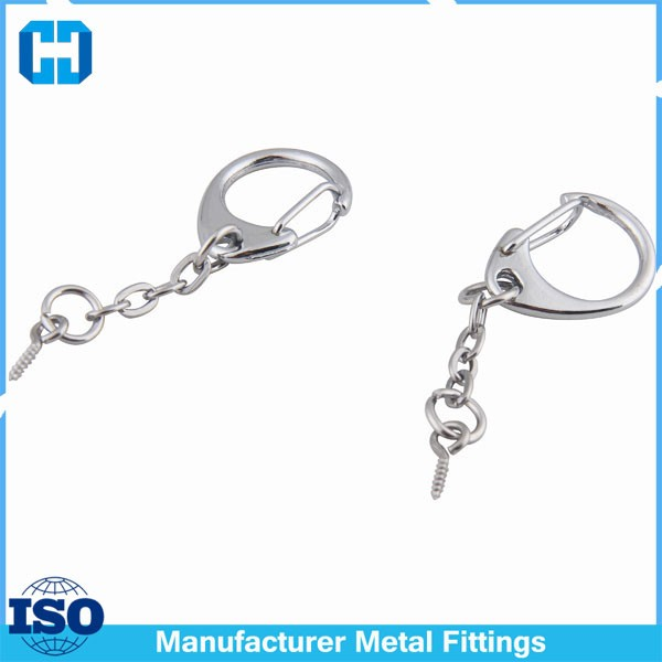 Chrome C Snap Hook Swivel Lobster Clasp With Linked Chain And Screw