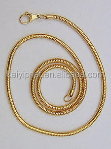 wholesale silver color 2.4mm brass Round Snake Chain necklace