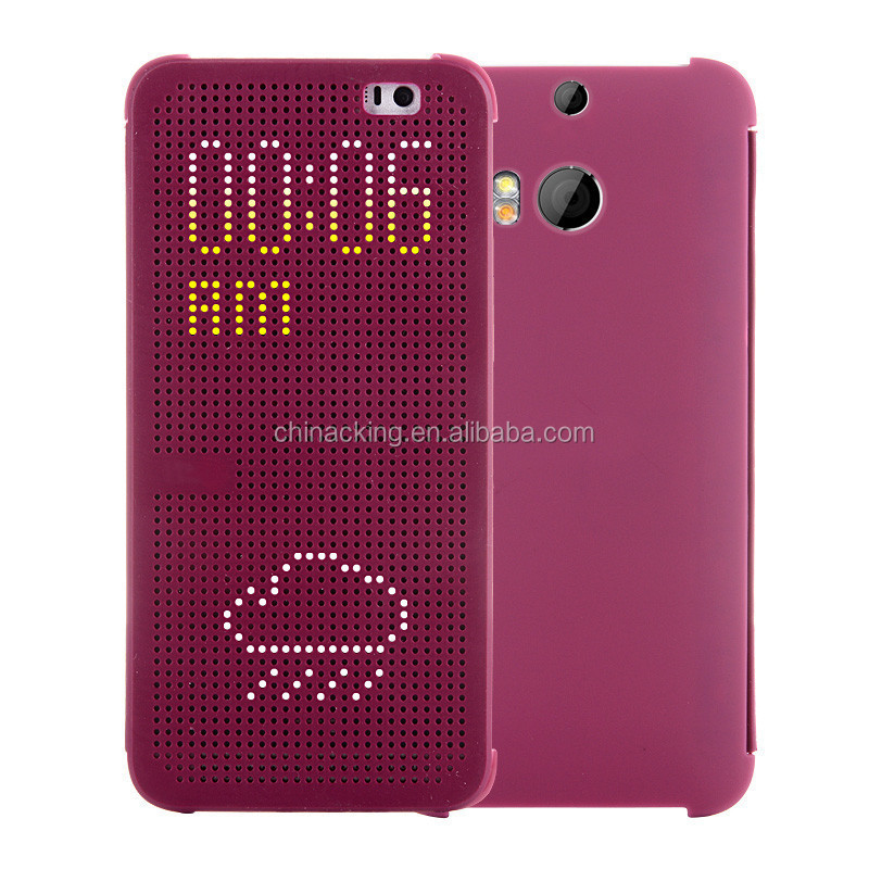 Ultra Thin Dot View Flip Leather Case Cover For HTC One M8