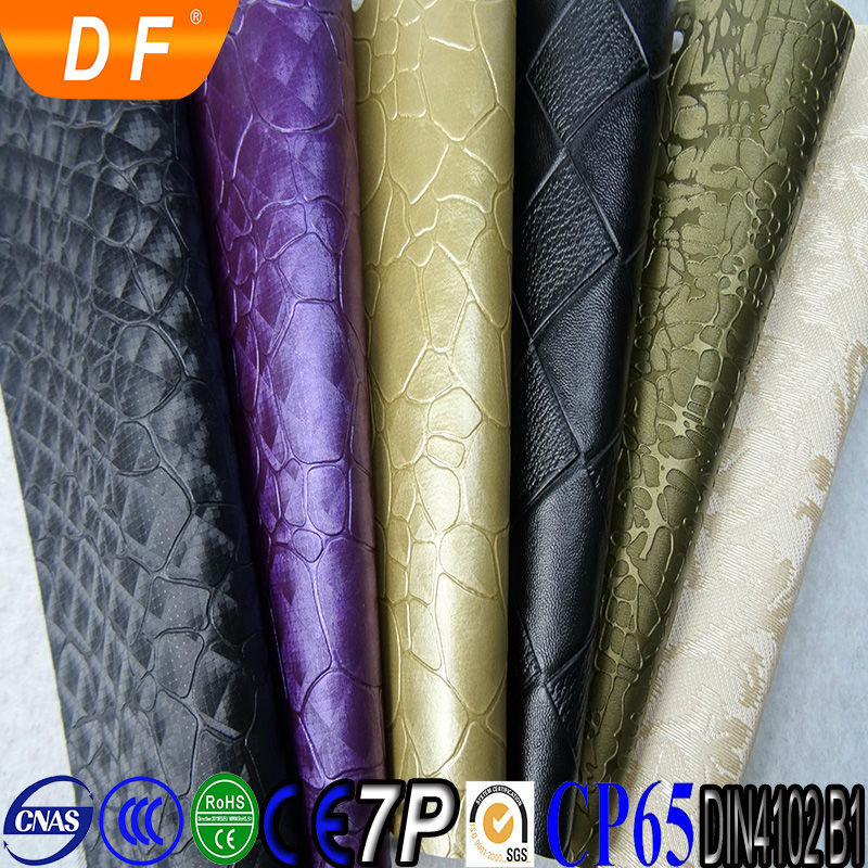 Eco-friendly Waterproof textile pvc leather for sofa and bags and car seats