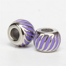 Yiwu Aceon Stainless Steel Customized Jewelry Findings Purple Enamel DIY Bracelet Bead