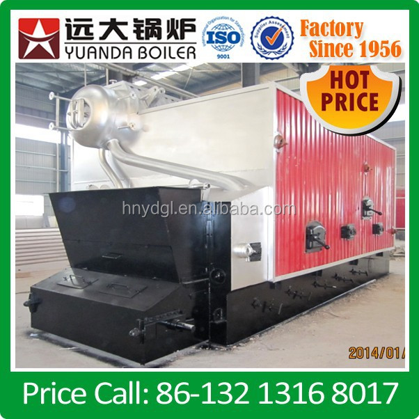 water tube biomass (firewood) boiler of 5000 kg/h operating at 13 barg