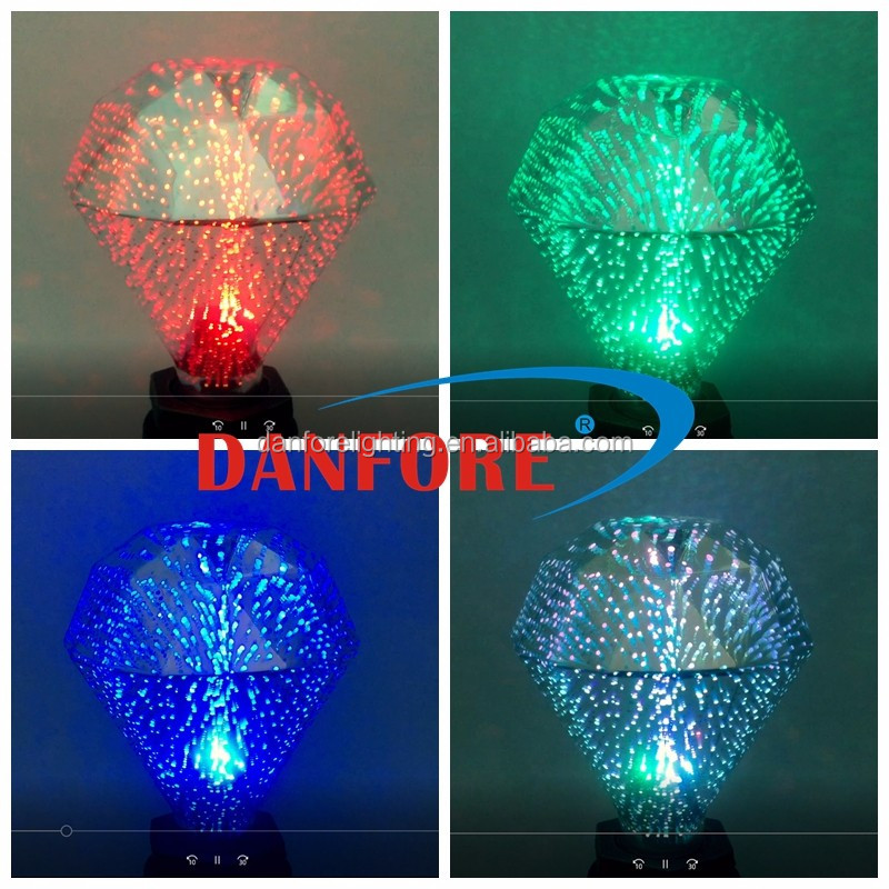 2017 New products color fading 3D fireworks RGB LED bulb