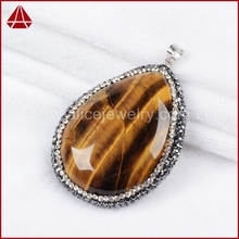 Tiger eye gemstone pendant, Pearl Jewelry & Drop Shape Tiger's Eye & Zircon Pendant Bead Silver Plated Clasp
