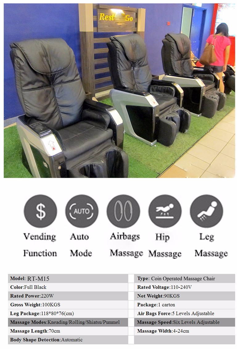 Indian Paper Money Operated Massage Chair RT-M15