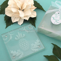 Frosted square glass table coaster with custom logo for tourist souvenir