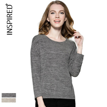 Women's long-sleeved t-shirt loose round neck shirt wholesale