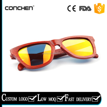 2017 new arrival genuine hand made red sunnies womens bamboo sunglasses wood