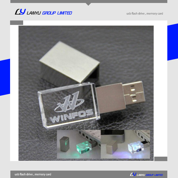 crystal glass led light usb flash drive ,corporate gifts pen drive ,4gb 8gb engraved custom usb stick