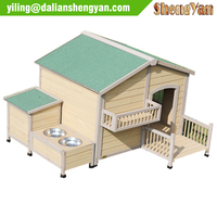 With food bowl wood dog house, dog cage, dog kennel