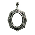 Beadsnice antique oval tray for gemstone wholesale charm necklace silver pendant findings ID 32301