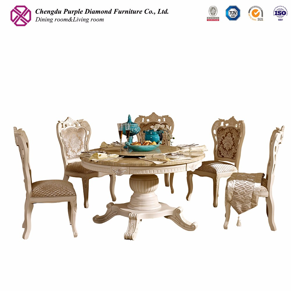 Elegant heavy-duty furniture wooden round marble table with chairs