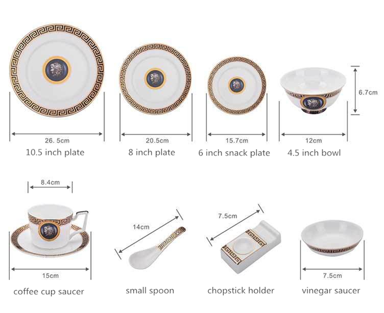 Wholesale dinner plate set gold rim restaurant flat round porcelain plate dinnerware sets ceramic cup and plate set