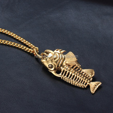 Fish Bone & Fishing Hook Pendant Necklaces Punk Style Men 316L Steel Link Chain 3 Colors Personality Jewelry