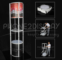 Foldable Spiral Twister Tower show case with laser light inside and PVC graphic for advertising trolly bag to carry easily