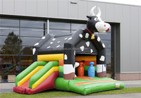 2016 customize black combo inflatable cow bounce house for rental