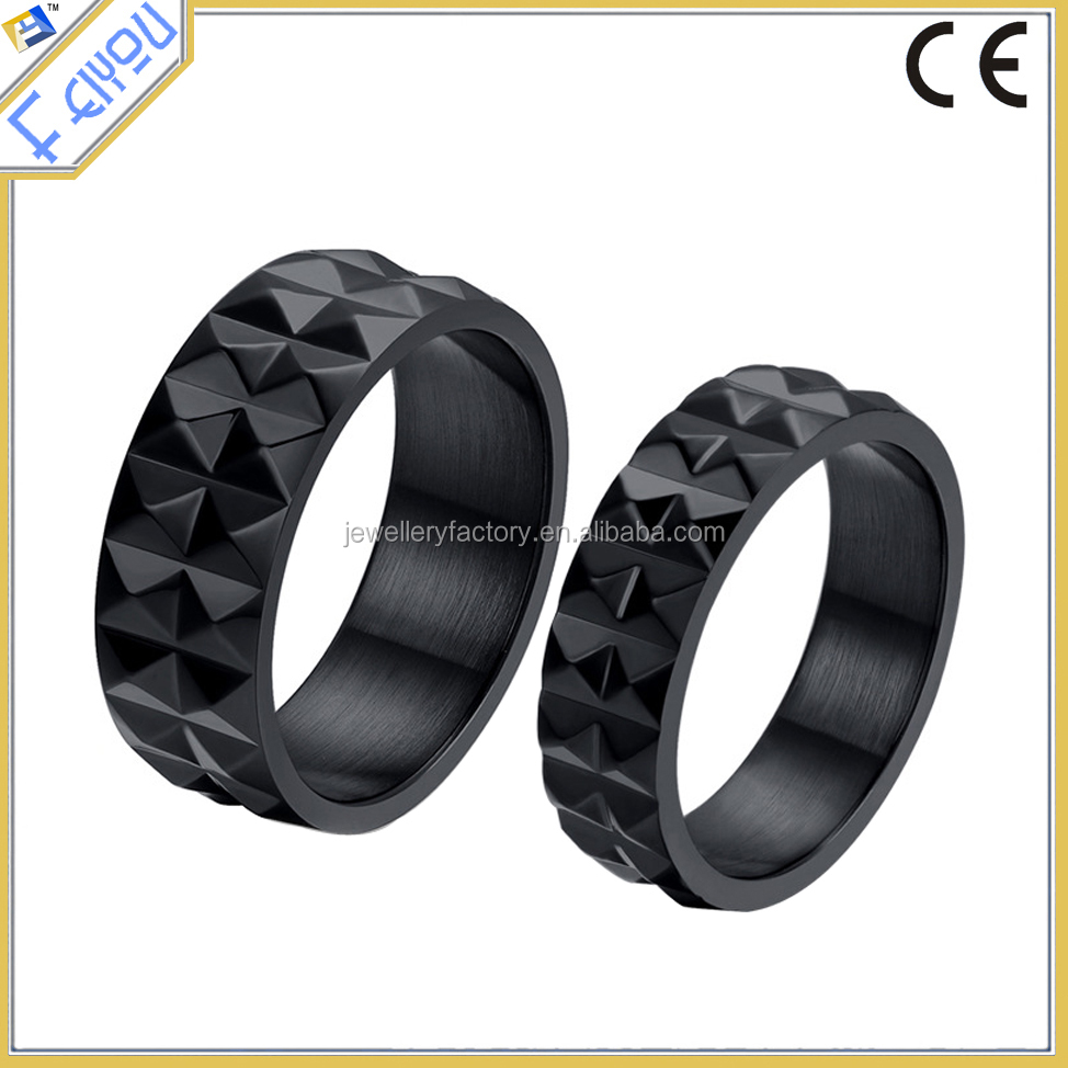 Cool black couple stainless steel punk women men water chestnut rings