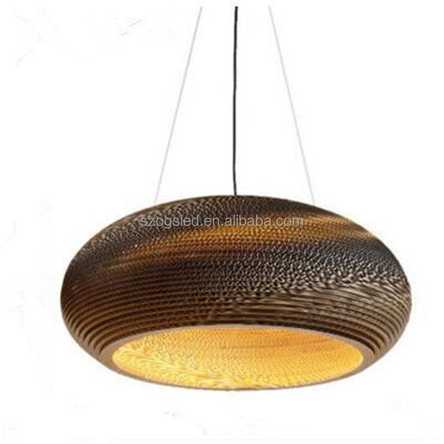 CE ROHS antique vintage hanging paper pendant light brown screw thread paper lamp