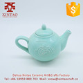 Blue elegant porcelain embossed flower ceramic tea pot