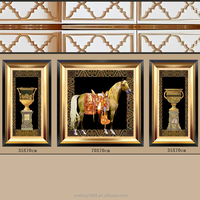 3 Panel European Style Luxury Noble Horse and Vase Decorative Painting Printed on Canvas Wall Decor Art from China Factory