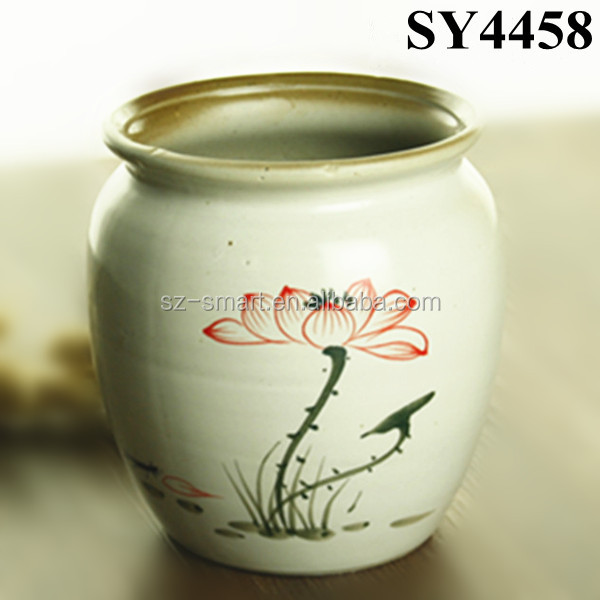 lotus painting ceramic planter pot