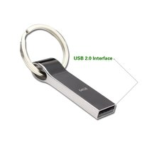 Waterproof Metal Silver usb flash drive pen drive 64GB 32GB 16GB 8GB 4GB pendrive with key ring u disk memory disk usb 2.0