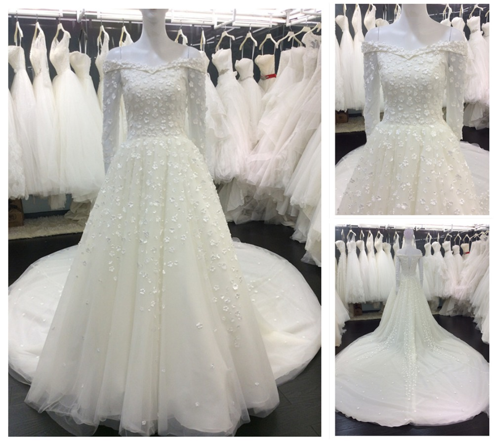Guangzhou Factory Special Design Muslim Bride Wear Boat Neck Long ...