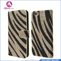 Best selling biling diamomd Zebra Skin leather flip case for lenovo with card slot