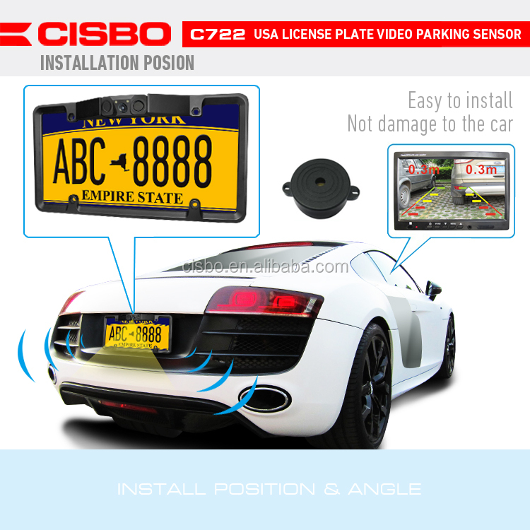 Cisbo C722 American License Plate Car Rear View Camera Parking System with Auto Reverse Sensors