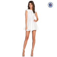 Short cap sleeves mini ladder cut-out trim dress in white wholesale clothing miami