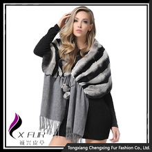 CX-B-122 Women's Chinchilla Dyed Genuine Rex Rabbit Handmade Fur Shawl