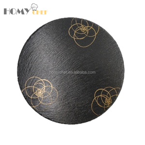 30cm black slate plate wholesale with golden painting