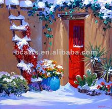 Beautiful Winter garden snow scenery oil painting, ladder and flowers in snow painting pictures for Christmas decoration