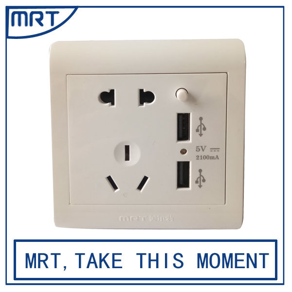2017 Hot Selling USB socket wall europe MRT206-USB-5B