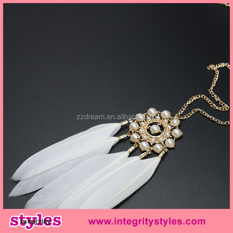 Elegant feather jewelry cheap fake pearl necklaces