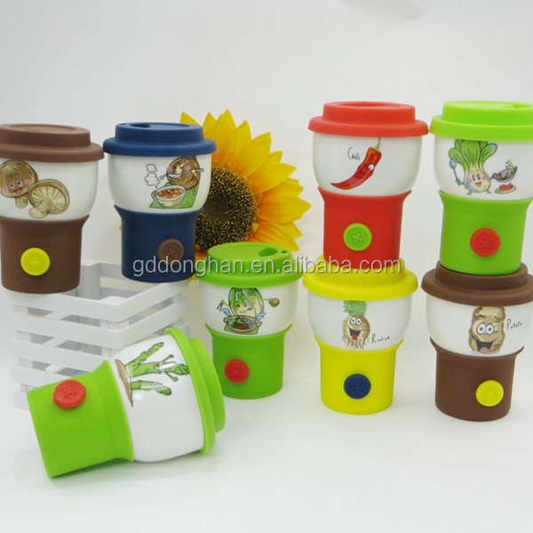 portable porcelain button travel coffee mug with silicone lid