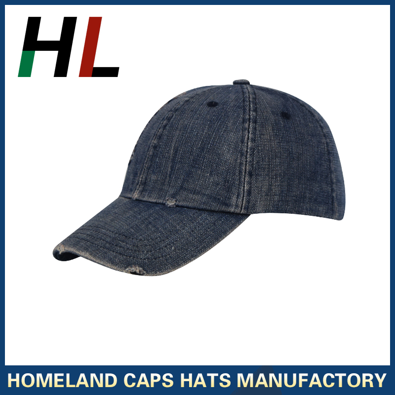 unstructured, 6 panel, plain hat, distressed on the bill and crown, custom heavy washed denim vintage dad hat baseball cap