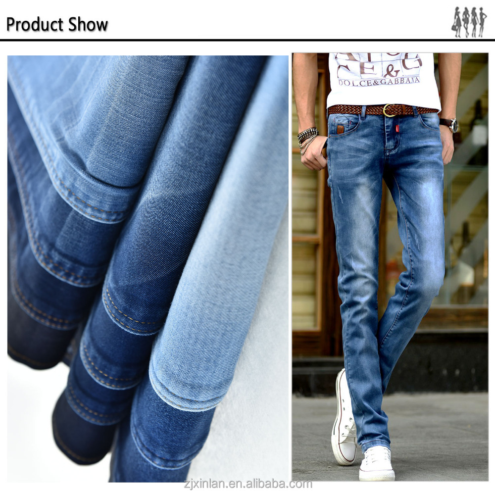 Top quality blue jacquard denim jean fabric