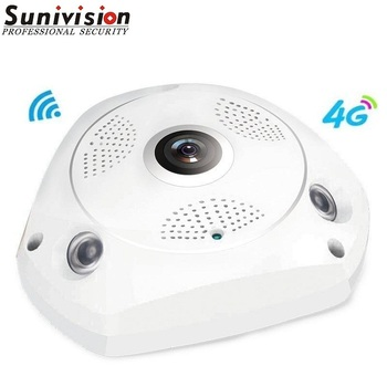 Compatible 4G LTE Wireless Fisheye 360 Degrees HD Free App Remote Monitor IP Camera
