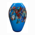 Colorful ellipsoid shape Murano glass vase