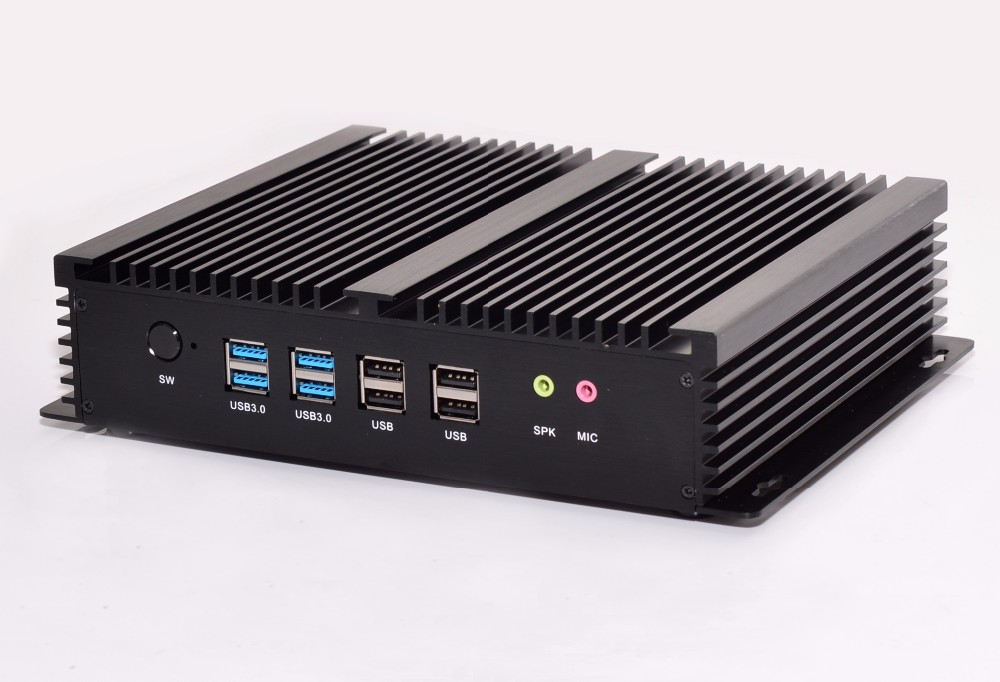 Barebone 4K HTPC Desktop Computer Intel HD Graphics 4400 Mini PC Fanless 2HDMI 2LAN Intel Core i5 4200U Slim PC