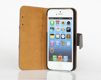 Flip Cover for iPhone 4 4S Mobile Phone Stand PU Leather Case with Card Holder