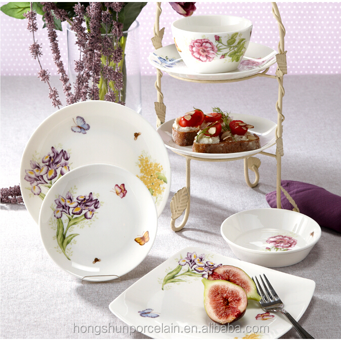 black flower design luxury fine china dinner set for royal family