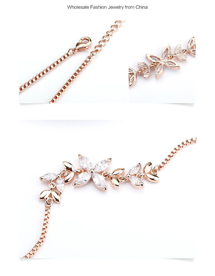 Popular 18K Rose Gold Plated OUXI Jewelry Wholesale Marquise Crystal Gemstone Copper Chain Bracelet