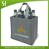 bulk high quality fancy reusable holiday christmas wine gift beer tote non woven 6 bottle wine bag wholesale
